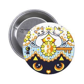 肉球陰陽太極図鍵と鍵穴白猫カップルカラフル ピンバック