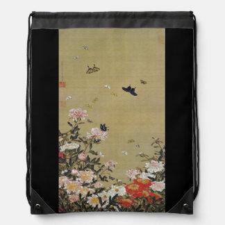 芍 medicine group butterfly figure Shakuyaku Drawstring Bag