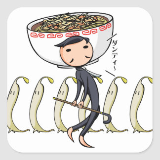 萌 palm gentleman English story Ramen shop Kanagawa Square Sticker