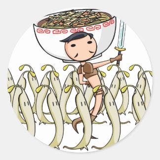 萌 palm soldier English story Ramen shop Kanagawa Classic Round Sticker