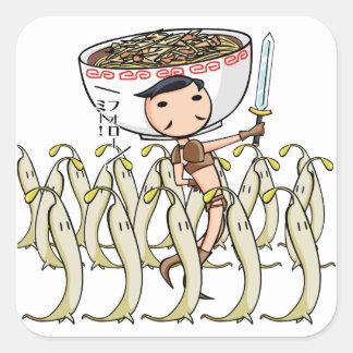 萌 palm soldier English story Ramen shop Kanagawa Square Sticker