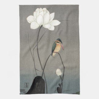 蓮にカワセミ, 古邨 Kingfisher on Lotus, Koson, Ukiyo-e Kitchen Towel