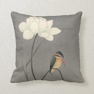 蓮にカワセミ, 古邨 Kingfisher on Lotus, Koson, Ukiyo-e Throw Pillow