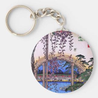 藤と太鼓橋, 広重 Wisteria and Arched Bridge, Hiroshige Keychain