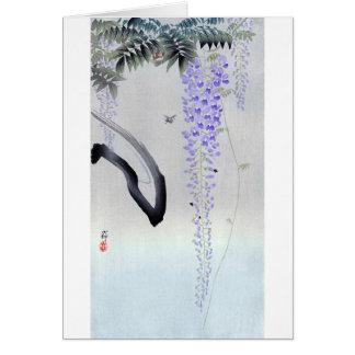 藤の花, 古邨 Flowering Wisteria, Ohara Koson, Woodcut Card