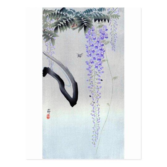 藤の花, 古邨 Flowering Wisteria, Ohara Koson, Woodcut Postcard