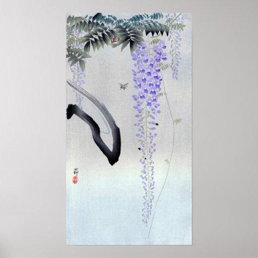 藤の花, 古邨 Flowering Wisteria, Ohara Koson, Woodcut Poster