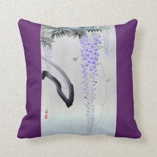 藤の花, 古邨 Flowering Wisteria, Ohara Koson, Woodcut Throw Pillow