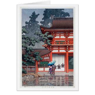 雨の春日大社, 川瀬巴水 Kasuga Shrine in Nara, Hasui Kawase Card