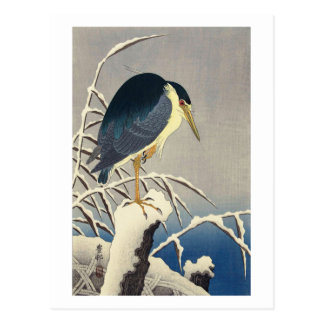 雪に青サギ, 小原古邨 Blue heron in the Snow, Ohara Koson Postcard