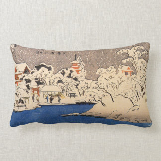 雪の浅草,国芳 Snowy Asakusa, Kuniyoshi, Ukiyo-e Lumbar Pillow