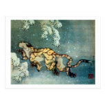 雪中虎図, 北斎 Tiger in the Snow, Hokusai Postcard