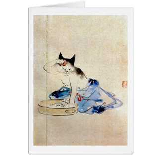 顔を洗う猫, 広重 Cat Face Wash, Hiroshige Card