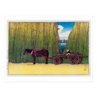 駒形河岸, Komagata Embankment, Hasui Kawase, Woodcut Postcard