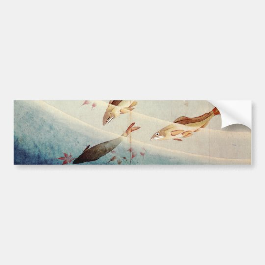 鮎, 北斎 Sweetfish, Hokusai, Art Bumper Sticker