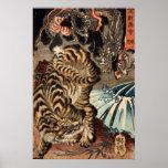龍虎, 国芳 Tiger & Dragon, Kuniyoshi, Ukiyo-e Posters