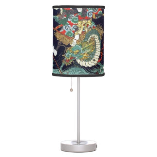 龍虎, 豊国 Dragon & Tiger, Toyokuni, Ukiyo-e Desk Lamps