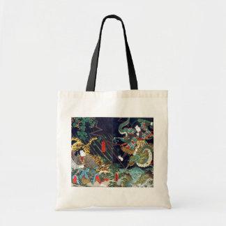 龍虎, 豊国 Dragon & Tiger, Toyokuni, Ukiyo-e Tote Bag