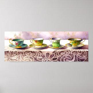 0001 Row of Teacups Art Print