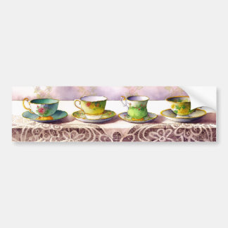 0001 Row of Teacups Bumper Sticker