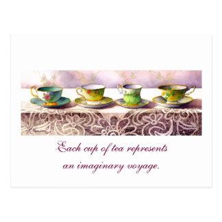 0001 Row of Teacups Catherine Douzel Postcard