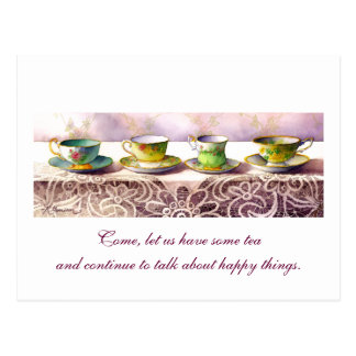 0001 Row of Teacups Chaim Potok Postcard