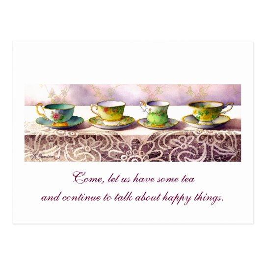 0001 Row of Teacups Chaim Potok Postcard
