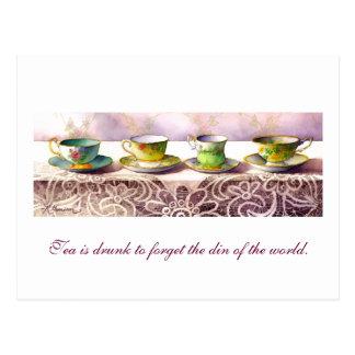 0001 Row of Teacups T'ien Yiheng Postcard