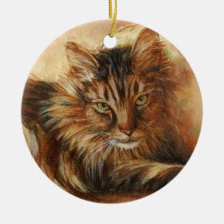 0005 Cat on Pillow Onament Ceramic Ornament