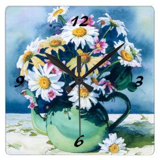 0006 Daisies in Green Teapot Clock