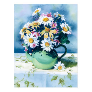 0006 Daisies in Green Teapot Postcard
