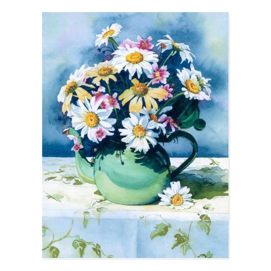 0006 Daisies in Green Teapot Postcard
