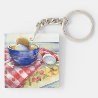 0009 Eggs in Blue Bowl Keychaing Double-Sided Square Acrylic Keychain