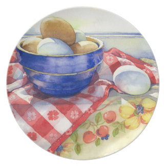 0009 Eggs in Blue Bowl Plate