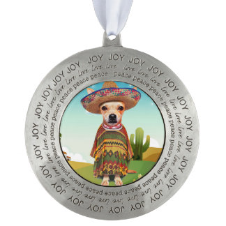 000-mexican round pewter ornament