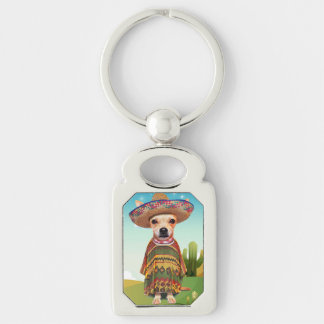 000-mexican Silver-Colored rectangle keychain