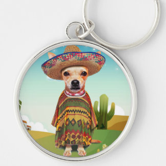 000-mexican Silver-Colored round keychain