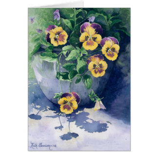 0011 Pansies in Planter Sympathy Card