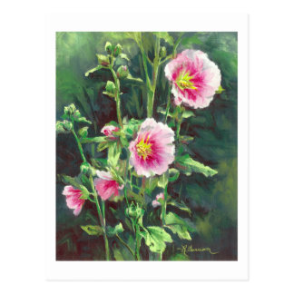 0013 Pink Hollyhocks Postcard