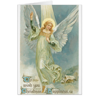 003 Vintage Christmas Card Blonde Angel Halo Snowy