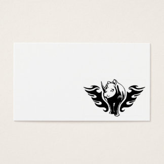 0047b FLAMBOYANT ANIMALS RHINO WILD TATTOO LOGO GA Business Card