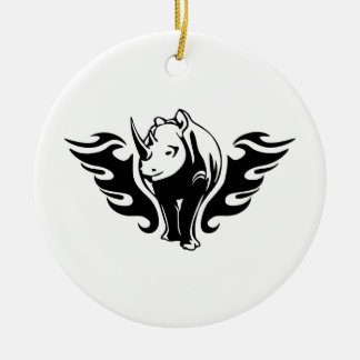 0047b FLAMBOYANT ANIMALS RHINO WILD TATTOO LOGO GA Ceramic Ornament