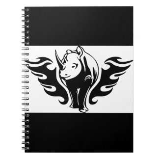 0047b FLAMBOYANT ANIMALS RHINO WILD TATTOO LOGO GA Spiral Note Book