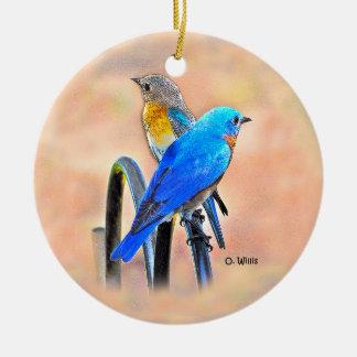 010 Bluebird Love 2.87 Ceramic Ornament