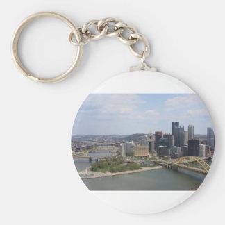 0230 Pittsburgh (Golden Triangle).JPG Basic Round Button Keychain