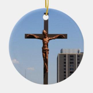 0234 Holy Cross.JPG Round Ceramic Ornament