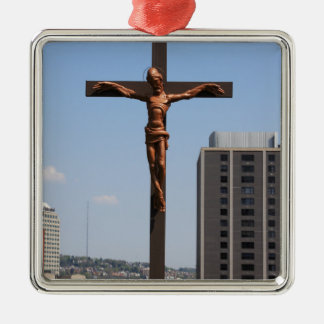 0234 Holy Cross.JPG Silver-Colored Square Ornament