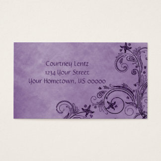 02 Purple Distressed Floral Business Card