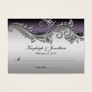 02Vintage Purple Black and Silver Place Card