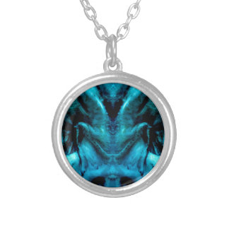 038-2-2ablue dämon 2 silver plated necklace
